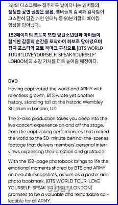 BTS WORLD TOUR LOVE YOURSELF SPEAK LONDON DVD 2DISC+Photo Book+Poster+Mark+GIFT