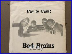 Bad Brains Pay To Cum 7 Original With SLEEVE Hardcore Punk KBD Minor Threat