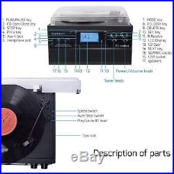 Bluetooth Record Player Turntable with Stereo Speaker LP Vinyl to MP3 Converter