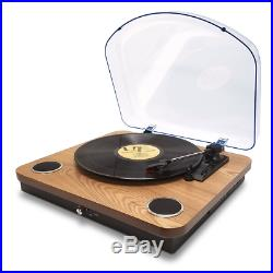 Bluetooth USB Turntable Vintage Record Player Vinyl-to MP3 Nature Wood 3-Speed