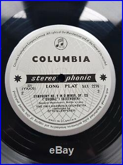 Columbia Sax 2276/77 B/s Klemperer Beethoven Choral Symphony No. 9 2 Lp Nm