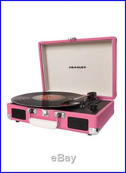 Crosley CR8005A-PI Cruiser 3 Speed Portable Turntable Record Player PINK Vinyl