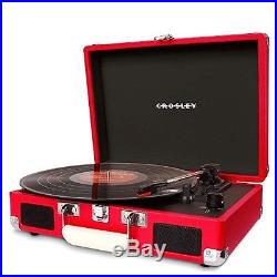 Crosley Crusier 3 Speed Portable Turntable Vinyl Record Player Red Vintage New