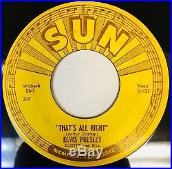 ELVIS PRESLEY 1st Press Misprint UPSIDE DOWN SUN 209 That's Alright / Blue. 45