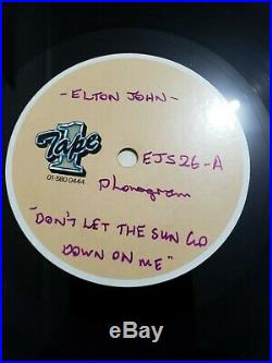 Elton John Don't Let The Sun Down On Me 10 ACETATE UK 1 Sided Vinyl - burberry