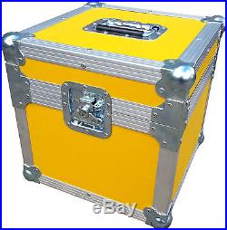 "Yellow Rigid PVC 7/"" Single 100 Swan Flight Case Vinyl Record Box"