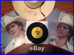 George Strait Ace In The Hole record & 17 Lp Albums (12 sealed) Autographed Hat