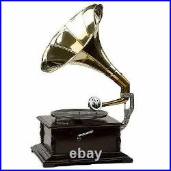 Gramophone With Brass Horn Record Player 78 rpm vinyl phonograph