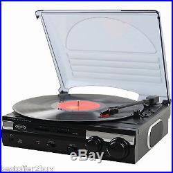 Jensen 3 Speed Stereo Turntable Vinyl Record Player USB Digital Builtin Speakers