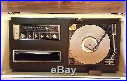 MID Century Modern Vintage White Zenith Vinyl Record And Radio Console