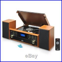 New Bluetooth Turntable Vintage Style & 2 Speaker Vinyl/MP3 Recording Wood Color