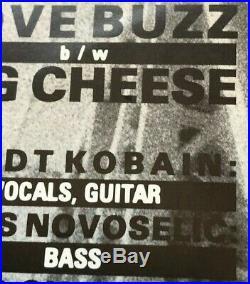 Nirvana Love Buzz Mega Rare ORIGINAL 7 PROMO PS +Insert +COA Punk Foo Fighters