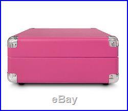 Pink Crosley Cruiser Turntable Vinyl Portable Record Player 3 Speed MP3 iPod