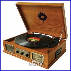 RETRO DESIGN 3-SPEED WOODEN VINYL TURNTABLE RECORD PLAYER USB/SD/MP3/iPOD PLAYER