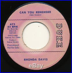 RHONDA DAVIS on Duke CAN YOU REMEMBER northern soul 45 PROMO ORIG LISTEN