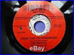 Rare Original Northern Soul Wigan Detroit 7 Record Crying Over You Duke Browner