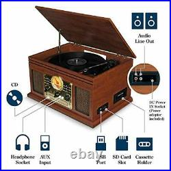Record Player Vinyl Turntable with Speakers USB MP3 Playback/ Bluetooth/ FM
