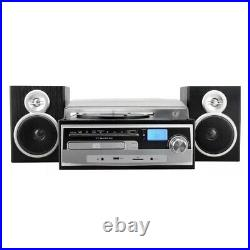 Trexonic 3-Speed Vinyl Turntable Stereo System Record CD Player FM Bluetooth USB